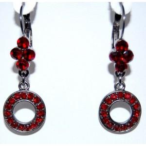 Boucles cristaux rouges, métal couleur anthracite
