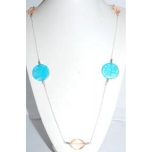 Collier perles turquoises fine chaîne, perles plates, sautoir