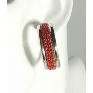 Boucles métal doré, chaîne aplatie couleur rouge