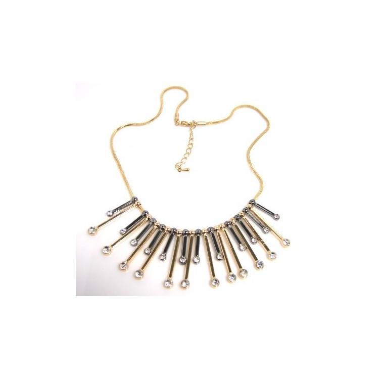 beau look dernière collection comment acheter Collier chic lamelles metal or argent - Colliers Femme