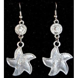 Boucles en métal en forme d'étoile avec strass