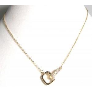 Collier métal doré, strass, femme