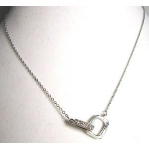 Collier métal argenté, strass, femme