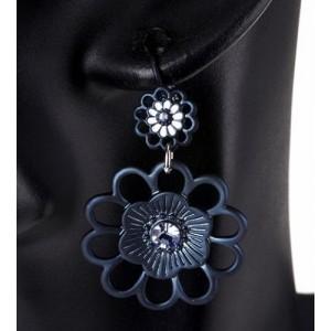 Boucles métal bleu duo fleuri, strass