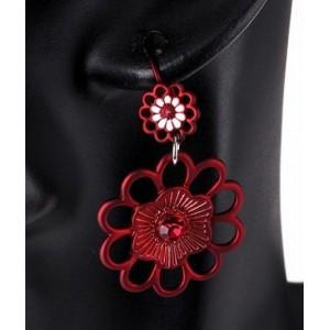 Boucles métal rouge duo fleuri