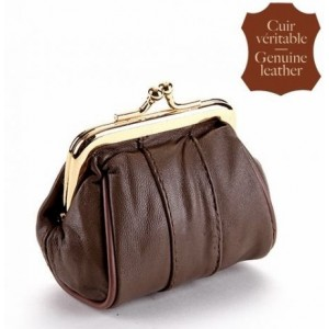 Porte-monnaie cuir, bourse couleur chocolat