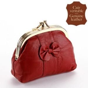 Porte-monnaie cuir, enrubanné rouge