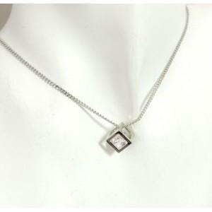 Parure métal argenté,collier cube precieux avec boucles d'oreilles strass
