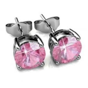 Boucles avec pierre de Swarovski rose