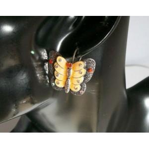 Boucles métal, papillon saumon nacré Temple Street