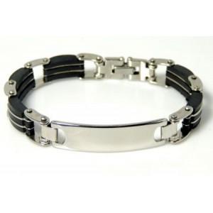 Bracelet acier et silicone gourmette homme