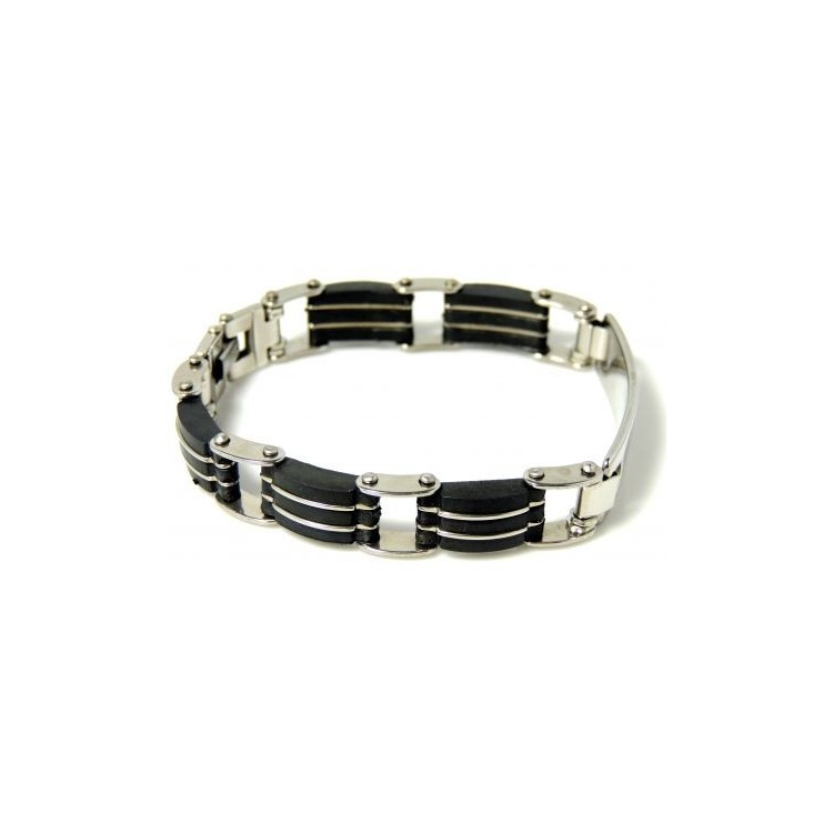 bracelet acier et silicone gourmette homme bracelets homme. Black Bedroom Furniture Sets. Home Design Ideas