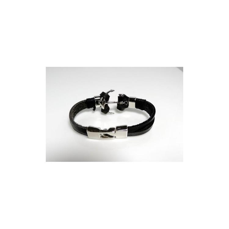 bracelet cuir noir et ancre acier bracelets homme. Black Bedroom Furniture Sets. Home Design Ideas