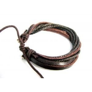 Bracelet en cuir marron 3 rangs et 4 rangs de cordelettes, unisexe