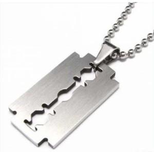 Collier acier 316L pendentif lame de rasoir homme
