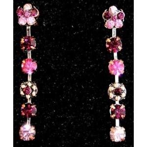 Boucles métal, strass rose et grenat sur fil métal Temple Street