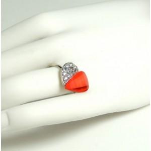 Bague métal argenté ajustable cœur rouge et strass