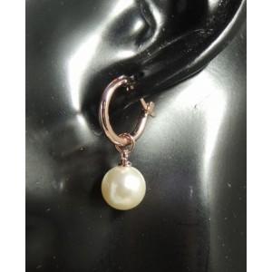 Boucles plaqué or rose 18 k, perle nacrée
