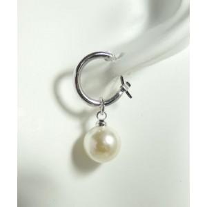 Boucles plaqué or blanc 18 k, perle nacrée