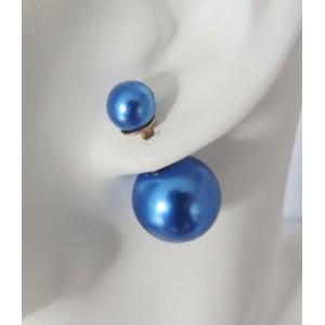 Boucles perles bleues double