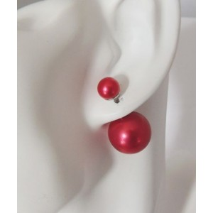 Boucles perles rouges double