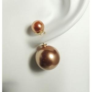 Boucles perles dorées nacrées double