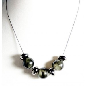 Collier perles verre, métal et braceletet assorti