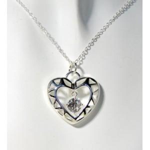 Collier en argent 925 avec un pendentif en forme de cœur et cristal blanc transparent