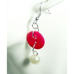 Boucles perle nacrée et bouton rose