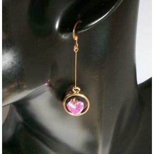 Boucles cristal rose et métal doré