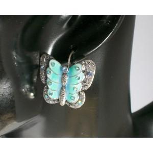 Boucles métal, papillon bleu Temple Street