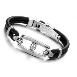 Bracelet acier 316 L et silicone homme
