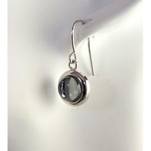 Boucles avec perles de verre sur métal argenté