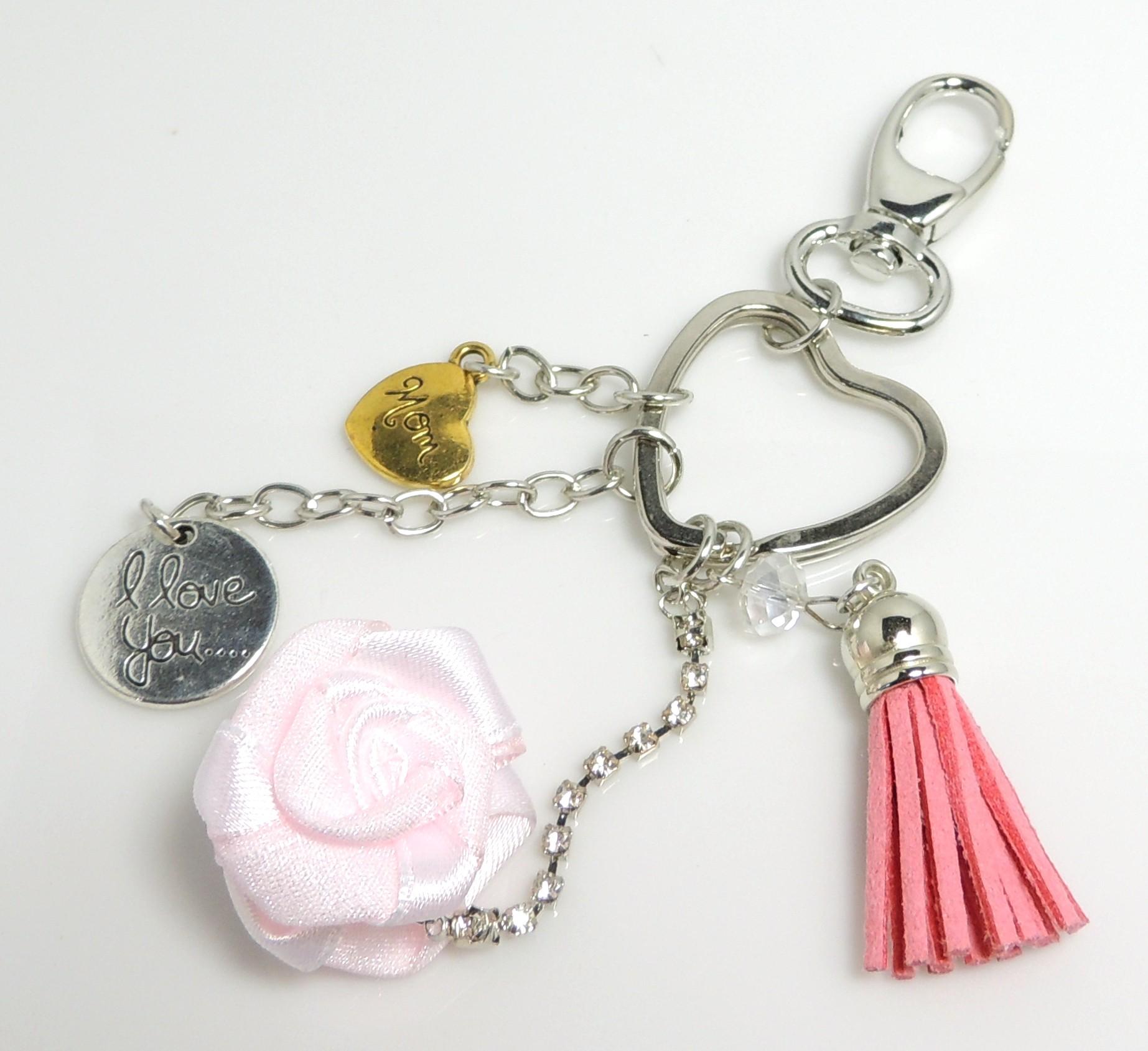 porte-clés métal et cuir, fleur soie rose