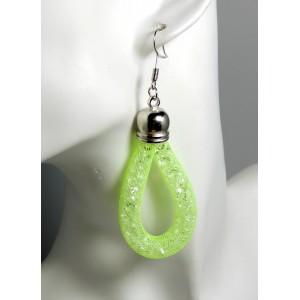 Boucles résine vert fluo, tube maille avec cristaux