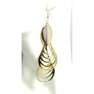 Boucles métal doré en 3 parties pour oreilles femme