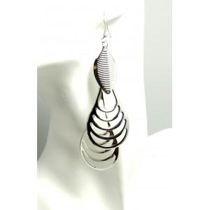 Boucles métal argenté en 3 parties pour oreilles femme