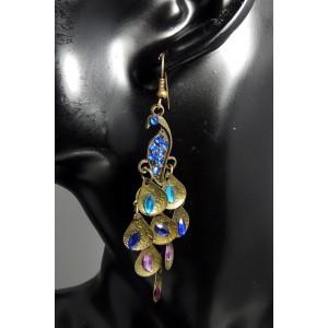 Boucles métal bronze paon rétro, cistaux couleurs femme