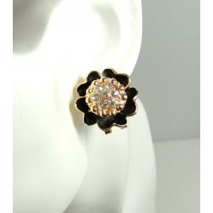 Boucles plaqué or 18k, fleur laquée noir, cristaux autrichiens