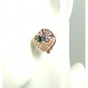 Boucles perles et strass clip pour oreilles non percées oreilles femme