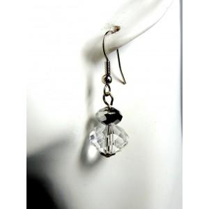 Boucles cristal blanc métal argenté femme