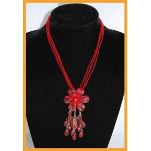 Collier perles rouges orchidée, multirangs femme