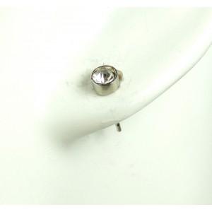 Boucles argent 925, cristal blanc, rondes pour homme