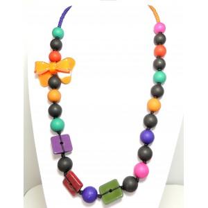Collier perles de couleur et nœud en résine brillante orange