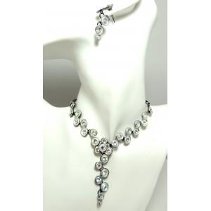 Parure cristaux blancs et métal, collier et boucles d'oreilles
