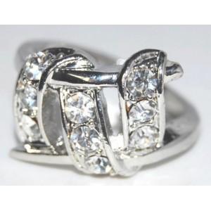 Bague métal argenté ruban strass, femme