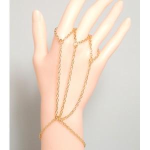 Bijou métal doré pour main, chaînes reliées à 3 doigts ou sur 1 seul