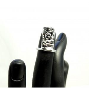 Bague d'ongle ajustable en métal argenté ajouré