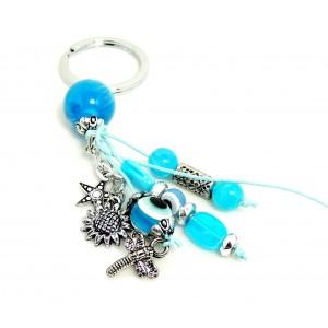 Porte-clés d'inspiration grecque avec pierres en résine bleue et breloques en métal