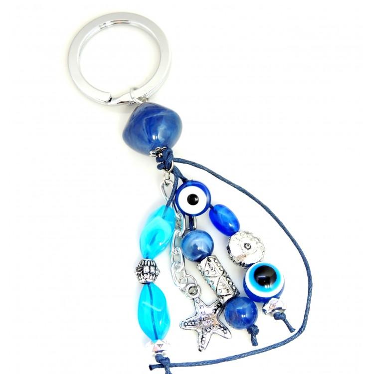 Porte cl s femme avec pierres en r sine bleue et breloques for Porte grecque